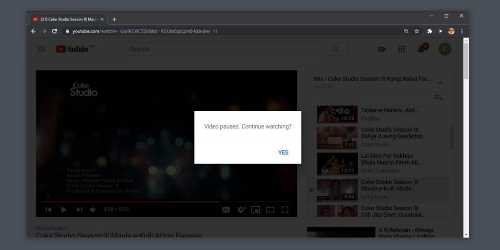 youtube auto-pause video