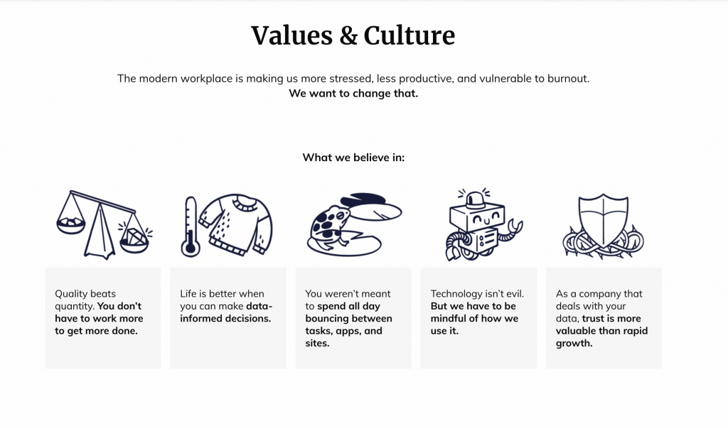 Rescue Time values & culture