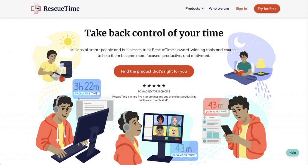 RescueTime Landing Page