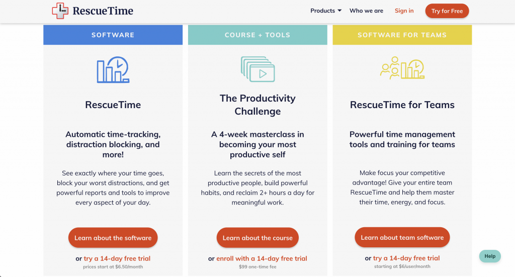 RescueTime products